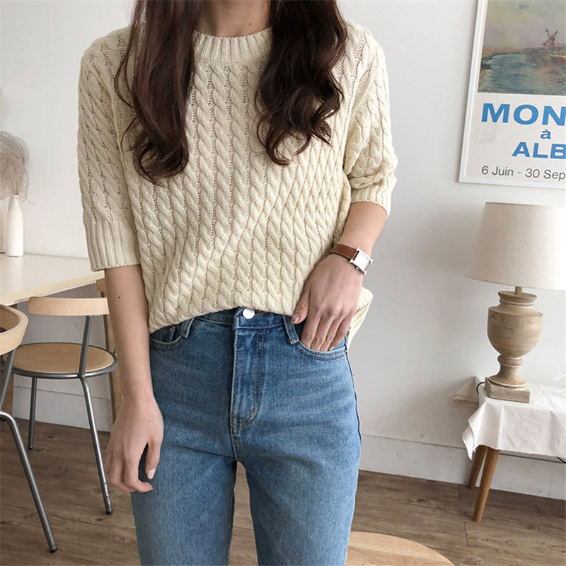 HziriP Vintage Pullovers Feminine Twisted Half-Sleeved Sweater Gentle Retro Elegant Women Simple Chic Knitted Basic Sweater