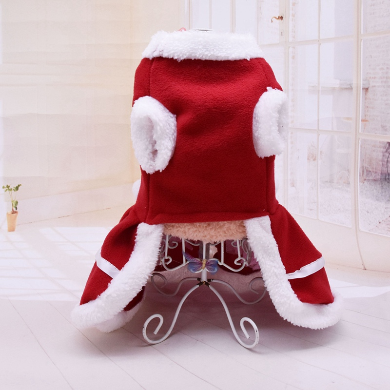 Pet Autumn And Winter Warm Clothes Dog Girls Costume Red Dress Puppy Warm Fleece Skirt For Christmas Pd