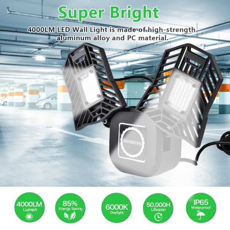 Super Bright E26 LED Ceiling Lights 40W Garage Lights Shop Lamp Deformation Indoor Lighting Industrial Lights For Workshop EU/US
