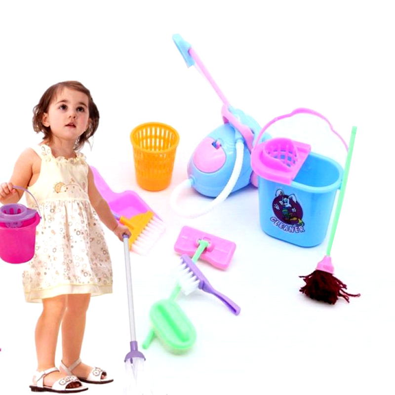 9 Pcs/Set Kids Children Role Play Toy Dolls Accessories Multi-Functional Furniture Cleaning Kit Pretend Play Toy Cleaning Kit