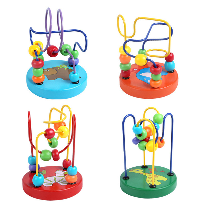 Baby Toys Wooden Mini Round Beads Toys Educational Puzzle Baby Rattles Animal Hand-eye Coordination Beading Baby Toys 0-12 Month