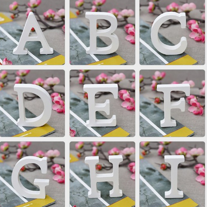 1 Pc Height 11 cm White Wooden Letters DIY Personalised Name Props Wedding Birthday Party Decor Home Decorative Accessories