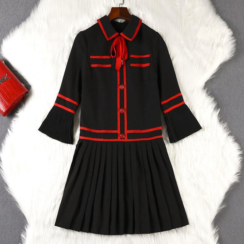 Lan Mu Square 2019 New Style Autumn Clothing Base Skirt Large Size WOMEN'S Dress Large GIRL'S Size Western Style Pleated 10243