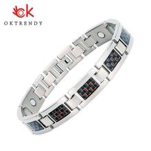 Oktrendy Negative ion Magnetic Bracelet Men Therapy Bracelets Bio Titanium Bangle For Arthritis Silver Color Bracelett