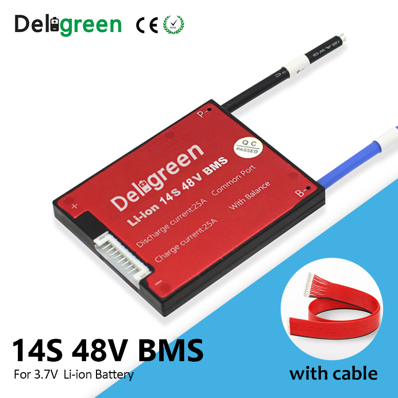 Deligreen 48V BMS 14S 25A 35A 45A 60A 48V PCB For 3.7V Lithium Battery Pack 18650 Li-ion LiNCM Scooter