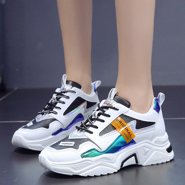 Brand Designer Chunky Platform White Sneakers Women Causal Shoes 2019 New Fashion Laser Thick Bottom Shoes Woman Trainers Ladies