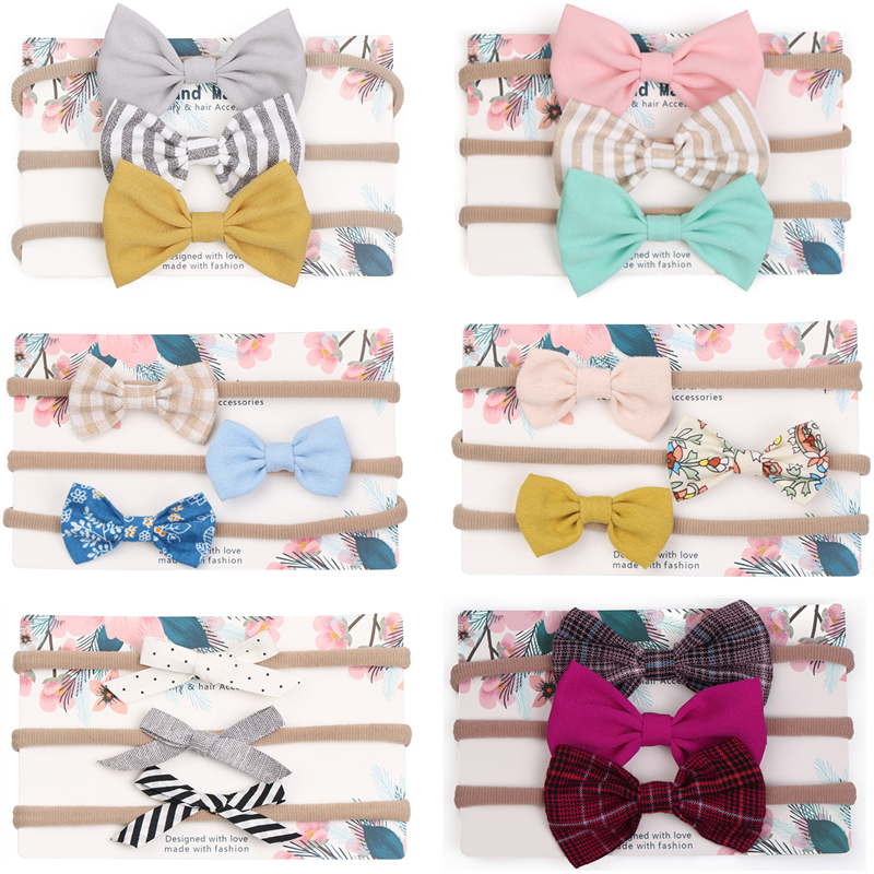 3pcs/lot Cute Bow Baby Headband for Girl Nylon Head Bands Turban Newborn Headbands Hairbands for Kids Baby Hair Accessories