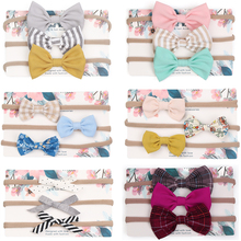 3pcs/lot Cute Bow Baby Headband for Girl Nylon Head Bands Turban Newborn Headbands Hairbands for Kids Baby Hair Accessories m mism new cute 3pcs lace butterfly baby headband fashion hair accessories for newborn wristband foot ring photography head wrap