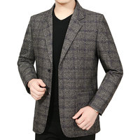 Man Elegant Wool Blazer Yellow Blue Plaid Pattern Woollen Blend Jacket Suits Male Business Smart Casual Notched Blazers Autumn