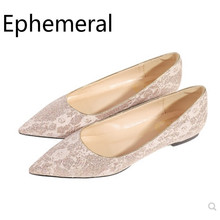 Lady cute Dazzling Pointy Toe Plus size 33-45 Flats No Heels Women Slip-on Sophia Webster Party Shoes comfortable Single