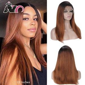 NY Hair-perruque Lace Front wig naturelle lisse | Cheveux Remy, couleur 5 #, 13*4, densité 130% 150%, pour femmes