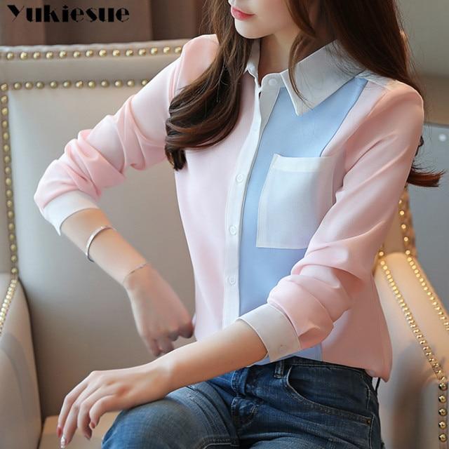 2020 summer Fashion Women Chiffon Blouses Office Lady Shirts Long Sleeve Pocket Women Tops Casual Spliced Womens blusas Clothing 2