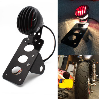 Motorcycle Side Mount Tail Light w/ License Number Plate Bracket For Harley Sportsters Bobber Chopper Rear Stop Light motorcycle accessories retro red rear tail brake stop light lamp license plate mount for harley honda suzuki chopper bobber