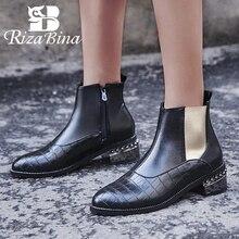 RIZABINA bottines Chelsea pour femmes, chaussures courtes en fourrure, couleur mélangée, tailles 32 à 48, collection chaussures pour dames