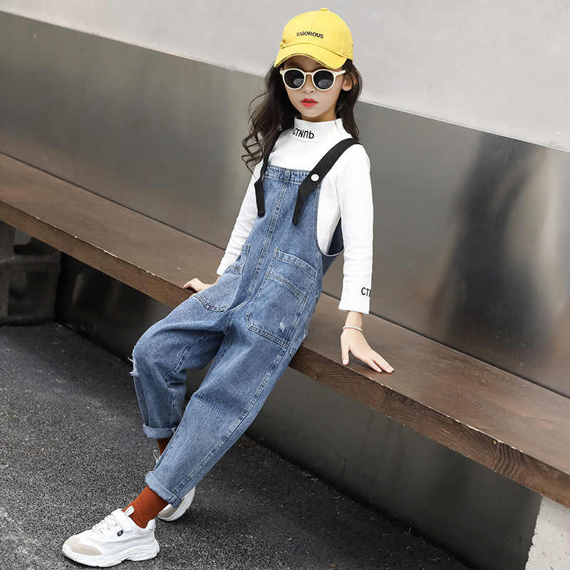 Kids Girls Jumpsuit Pants Casual Loose Pocket Dungarees Outfit Set Size 1-6Years