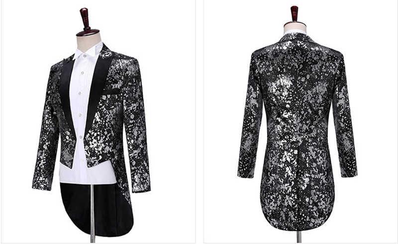 Silver Leopard Sequin Tailcoat Suit Set Men Luxury Design Slim Fit Tuxedo Suits Mens Club Stage Singer Dancer Prom Costume Homme