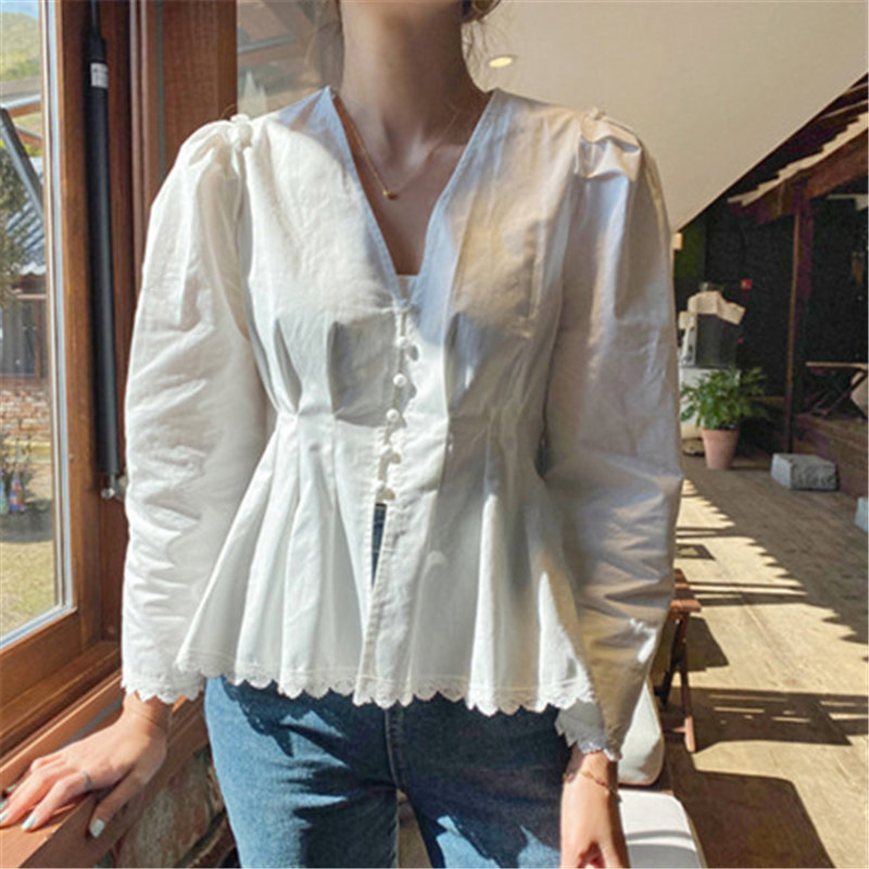 Alien Kitty Korean Early Spring Chic Lace Single Breasted V-Neck Long Sleeve Shirt 2020 Gentle White Solid All Match Blouses