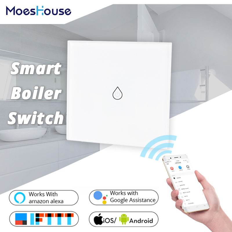 WiFi Smart Boiler Glass Panel Switch 4400W Smart Life Tuya App Remote Control Water Heater Switch Work With Alexa Google Home