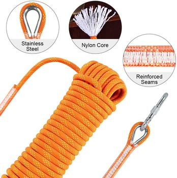Outdoor Climbing Rope 10M High Strength Safety Rescue Rope Survival Tool With Hook xinda 12 meter outdoor static rope climbing rope rappelling rope high altitude climbing rope safety equipment 9 10mm rope