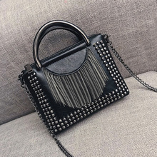 Punk Style Women Bag Top-handle PU Leather Handbag with Rive