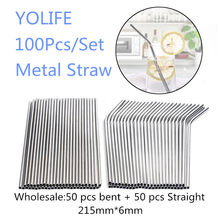 Eco Friendly Straws 100Pcs/Set Metal Straw Reusable Wholesale Stainless Steel Drinking Tubes 215mm*6mm Straight Bent Straws