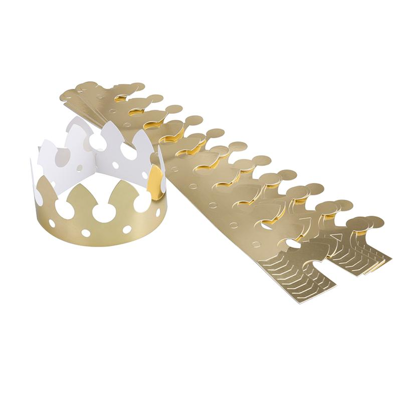 12pcs Golden Crown Hats Child Crown Cap Birthday Celebration Baby Shower Hat Cute Party Supplies Photo Props
