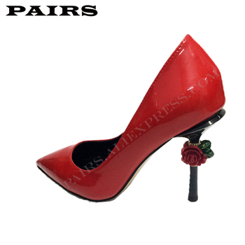 Fashion Genuine Leather Pumps Women Stiletto Flower High Heels Sexy Ladies Shiny Pointed Toe Pumps Special Design Party Shoes фото
