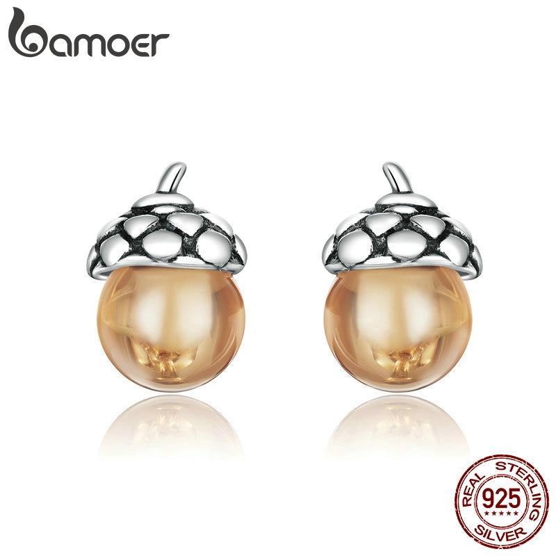 Bamoer 925 Sterling Silver Stud Earrings Wishing Tree Pearl Dangle Women Jewelry