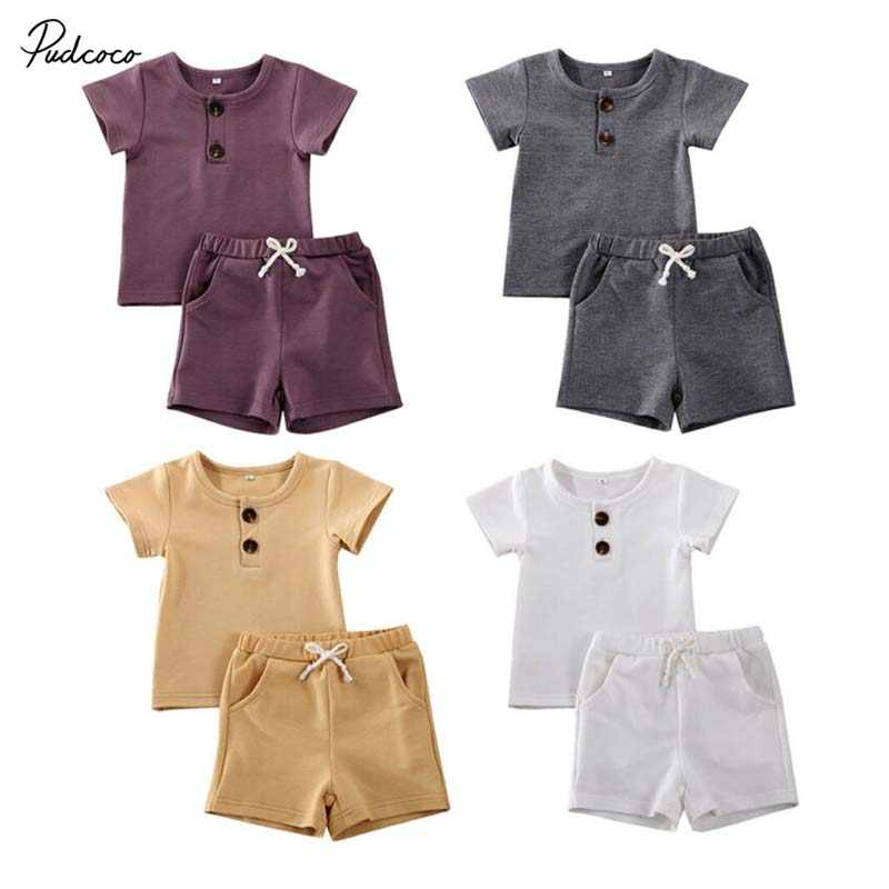 2020 Baby Summer Clothing Newborn Toddler Kids Baby Boy Outfit Clothes Button T-shirt Tops Pants Legging Solid Clothes