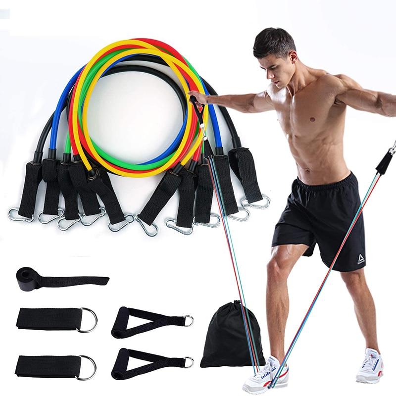 11 PCS Training Resistance Bands Set Fitness Gym Stretch Expander Pull Rope Rubber Pilates Elastic Tubes Workout Yoga Dropshipp