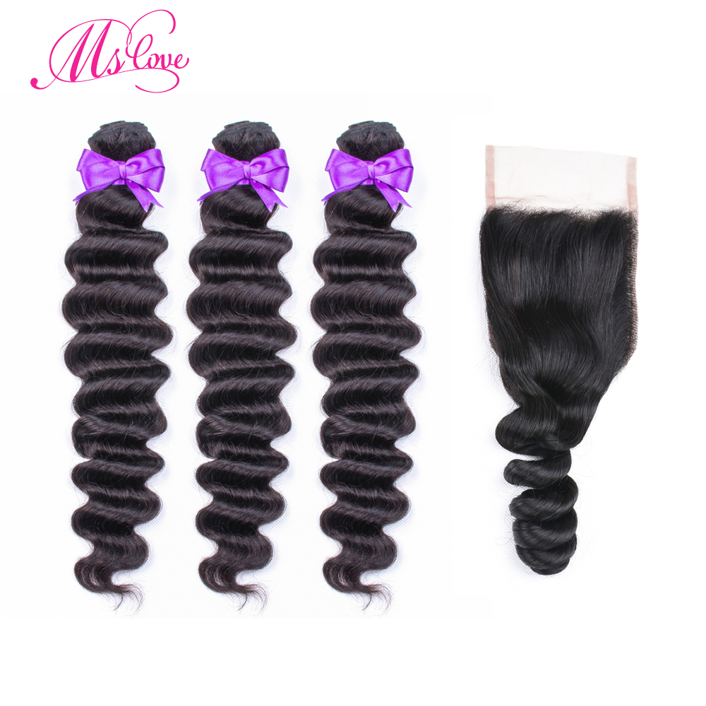 Loose Wave 3 Bundles With Closure Non Remy Peruvian Hair Bundles With Lace Closure 4x4  Can Be Dyed Bleached Ms Love