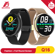 BELOONG Q16 w pełni z okrągłych sterowanie dotykowe ciśnienia krwi tętno fizjologiczne opaska monitorująca inteligentny zegarek fitness smart watch Q9 Q8