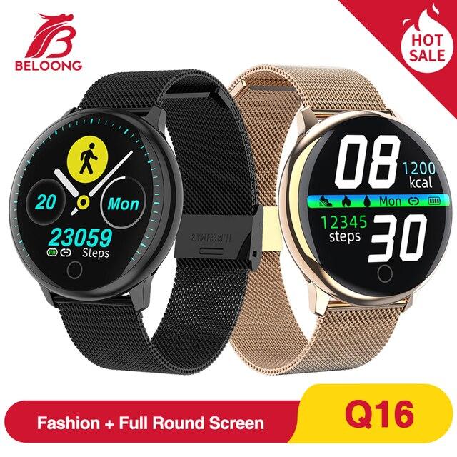 BELOONG Q16 מלא עגול מגע בקרת קצב לב לחץ דם פיסיולוגיים צג צמיד כושר גשש חכם שעון Q9 Q8