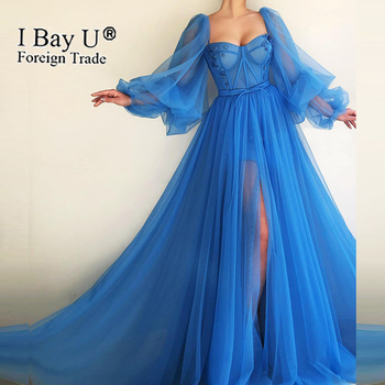 Темно синие Сексуальные вечерние платья из тюля трапециевидной формы с бусинами 2020 Длинные вечерние платья с длинными рукавами новейшего д