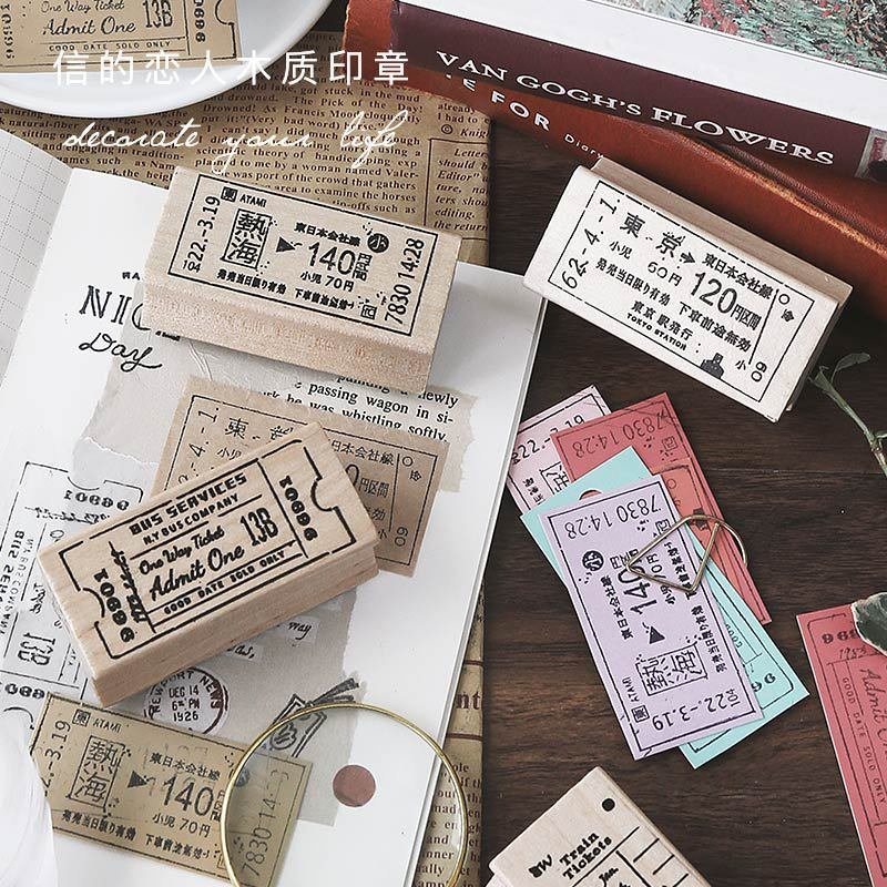 Vintage Ticket Travel Series Decoration Stamp Wooden Rubber Stamps For Scrapbooking Stationery DIY Craft Standard Stamp