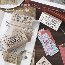 Vintage Ticket Travel Series Decoration Stamp Wooden Rubber Stamps for Scrapbooking Stationery DIY Craft Standard Stamp