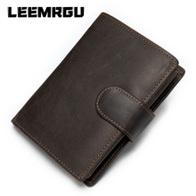 Genuine Men Casual Retro Leather Wallet Short Multi-function Large-capacity Brand High-quality designer Buckle Zipper Coin Purse