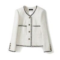 Women 2020 spring white jacket long sleeve color block chians elegant office lady wear single breasted tweed jackets outerwear