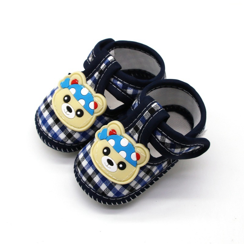 0-18M Baby Girls Cartoon Lace Bow Anti-Slip Shoes Toddler Soft Soled First Walkers