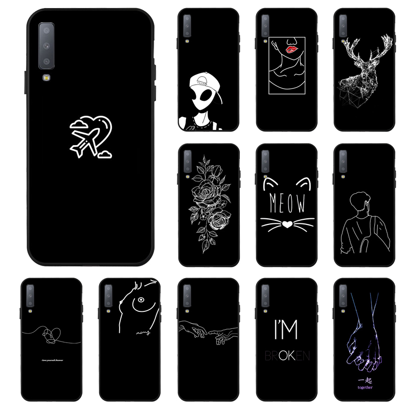 <font><b>Case</b></font> For <font><b>Samsung</b></font> <font><b>A6</b></font> A8 Plus A7 A9 2018 <font><b>Case</b></font> Soft 3D Cartoon Silicone Black Painted Phone Cover For <font><b>Samsung</b></font> Galaxy A5 <font><b>2017</b></font> Bumper image