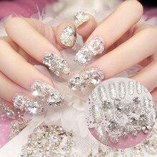 Роскошные блестящие стразы, свадебные накладные ногти, прозрачные блестящие драгоценные камни, короны, дизайнерские квадратные короткие накладные ногти для невесты, 24 шт