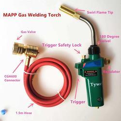 Mapp Gas Solderen Fakkel Zelf Ontsteking Trigger 1.5m Slang Propaan Lassen Verwarming BBQ HVAC Sanitair Sieraden CGA600 Brander