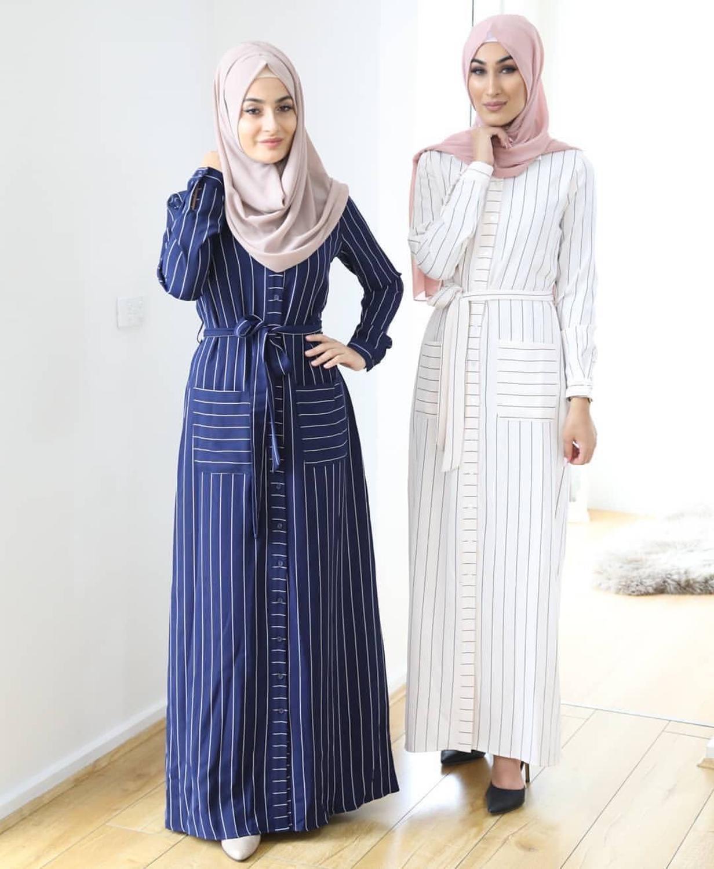 Striped shirt-style kimono Abaya Women Women's Abaya Women's Clothings Women's Dresses