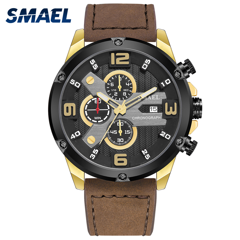 2020 Luxury Brand Watch Quartz Movement Clock Leather Auto Date Chronograph Watch For Men 9082 Fashion Sport Watches Quartz Time