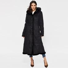 Women's Faux Suede Shearling Maxi Walking Coat with Hooded faux shearling hooded coat