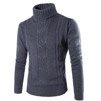2019 Summer High Quality Homme Solid Men's Sweater British Style High Collar Sweater Casual Slim Fitness Pullover Youth Teens