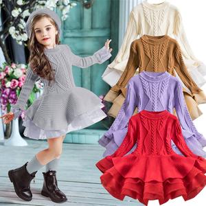 2019 Winter Knitted Chiffon Girl Dress Christmas Party Long Sleeve Children Clothes Kids Dresses For Girls New Year Clothing(China)