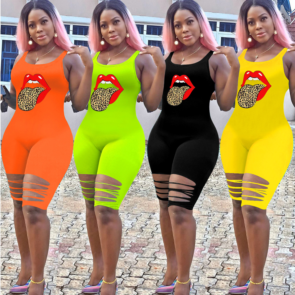 JENYAGE Women Summer Trendy Clothes 2020 Mouth Print Stretch Bodycon African Sexy Hollow Out Ripped Party Club Rompers Playsuit