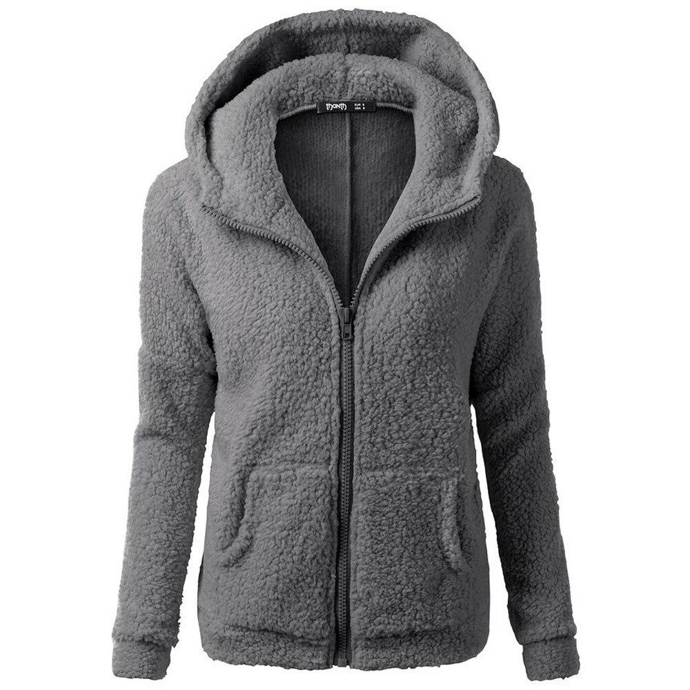 Wool Hoodie Women Winter Long Sleeve Zipper Hooded Solid Warm Outerwear Женская толстовка Sudadera Mujer Damska Bluza OY40*