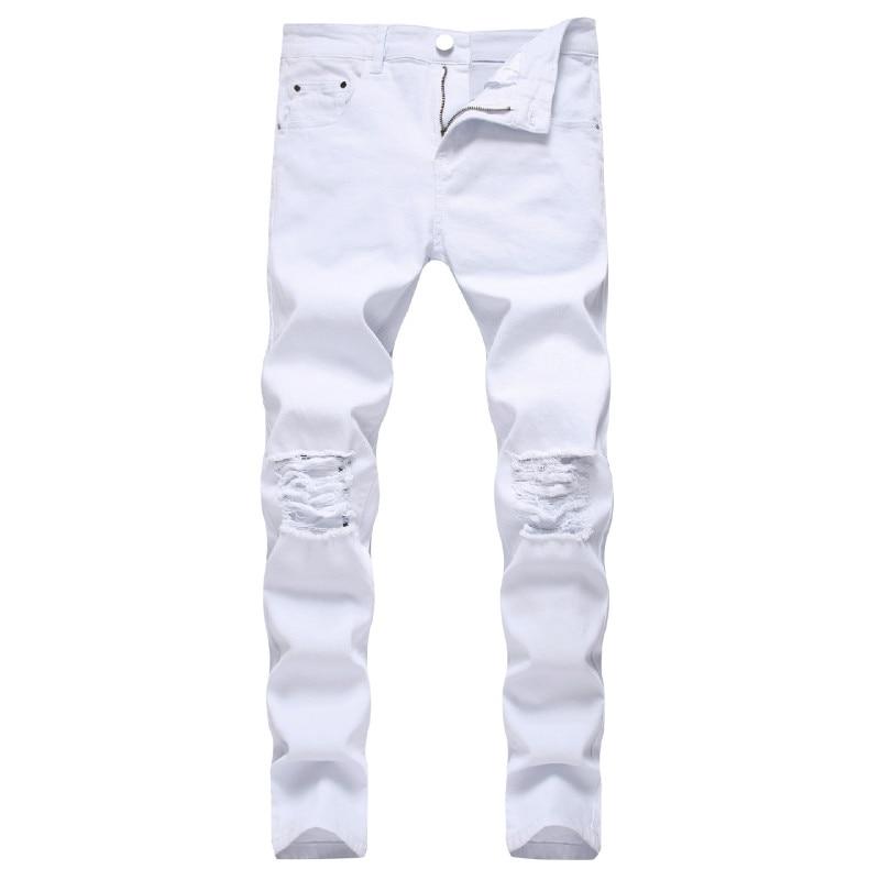 Solid White Ripped Jeans Men 2020 Classic Retro Mens Skinny Jeans Brand Elastic Denim Pants Trousers Casual Slim Fit Pencil Pant